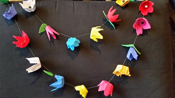 Mcd library makeart paper flower garlands mcd celebrate earth daymonth by decorating with these lively and colorful flower garlands made with repurposed materials you can enjoy these blooms all year mightylinksfo