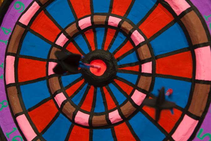 Close-up image of Macon Reed's artwork, representing a colorful bullseye.