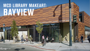 Exterior photo of Bayview/Linda Brooks Branch library on a sunny day, with people passing along the sidewalk in front.