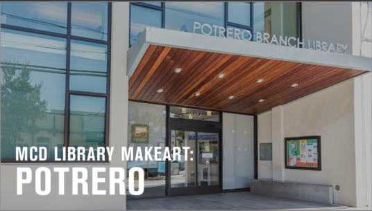 Image of the exterior and awning of the Potrero Branch Library.