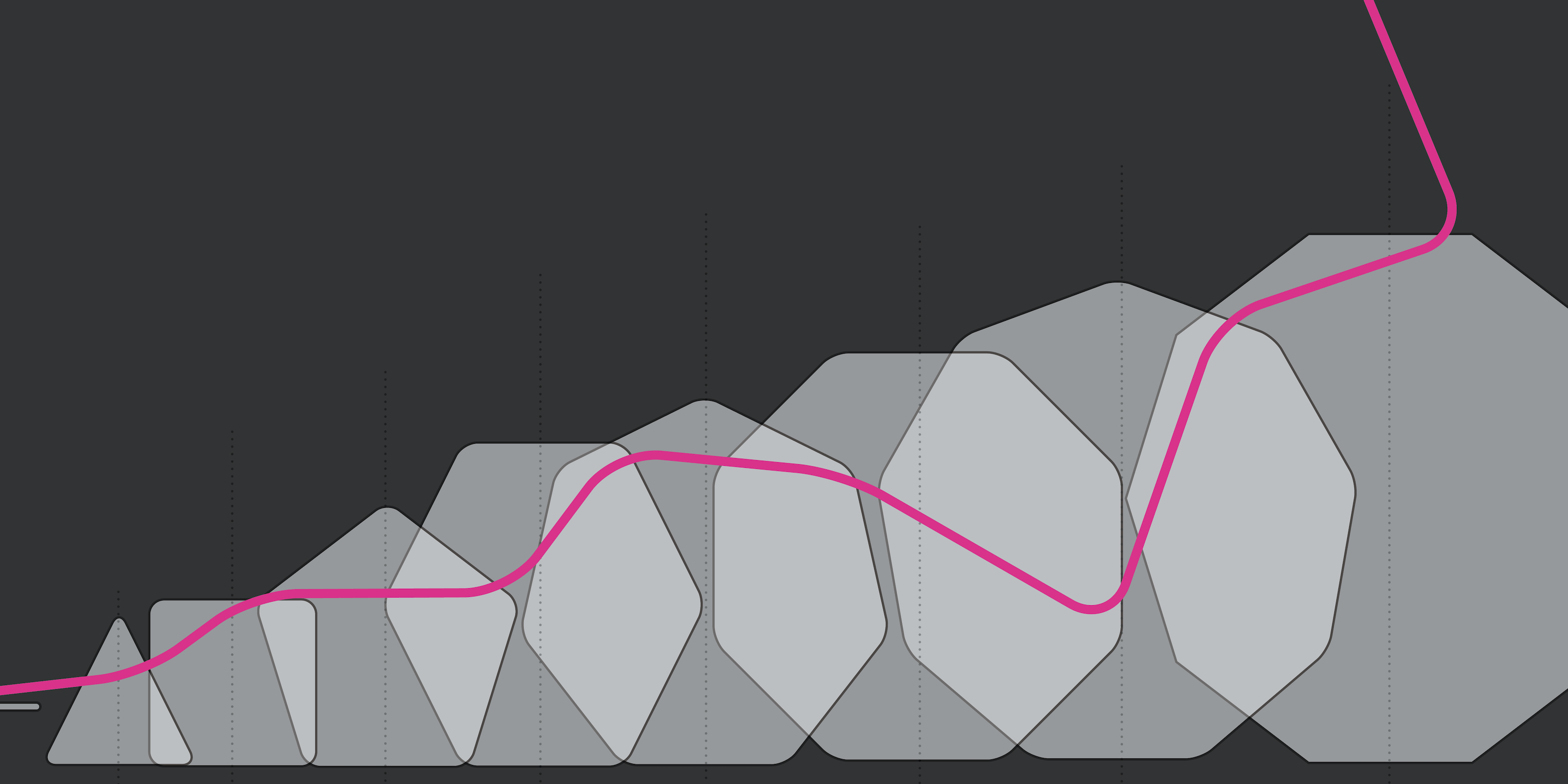 gradient grey octagon image with pink graph line