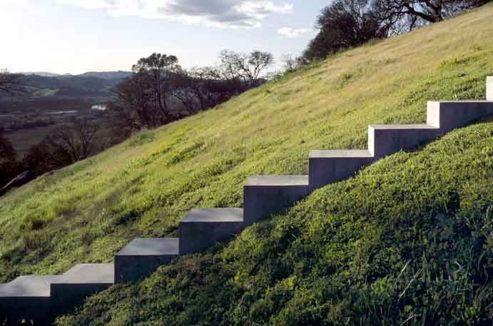 Bruce Nauman's artwork, concrete stairs heading up a grassy hill on the Oliver Ranch Property