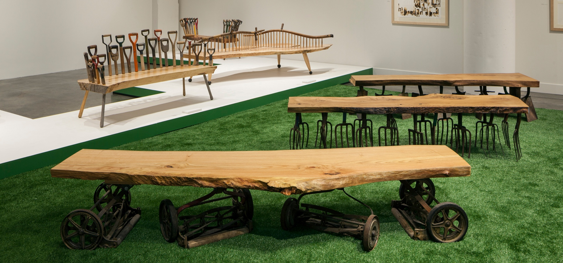 Furniture made with garden tools and other reused materials