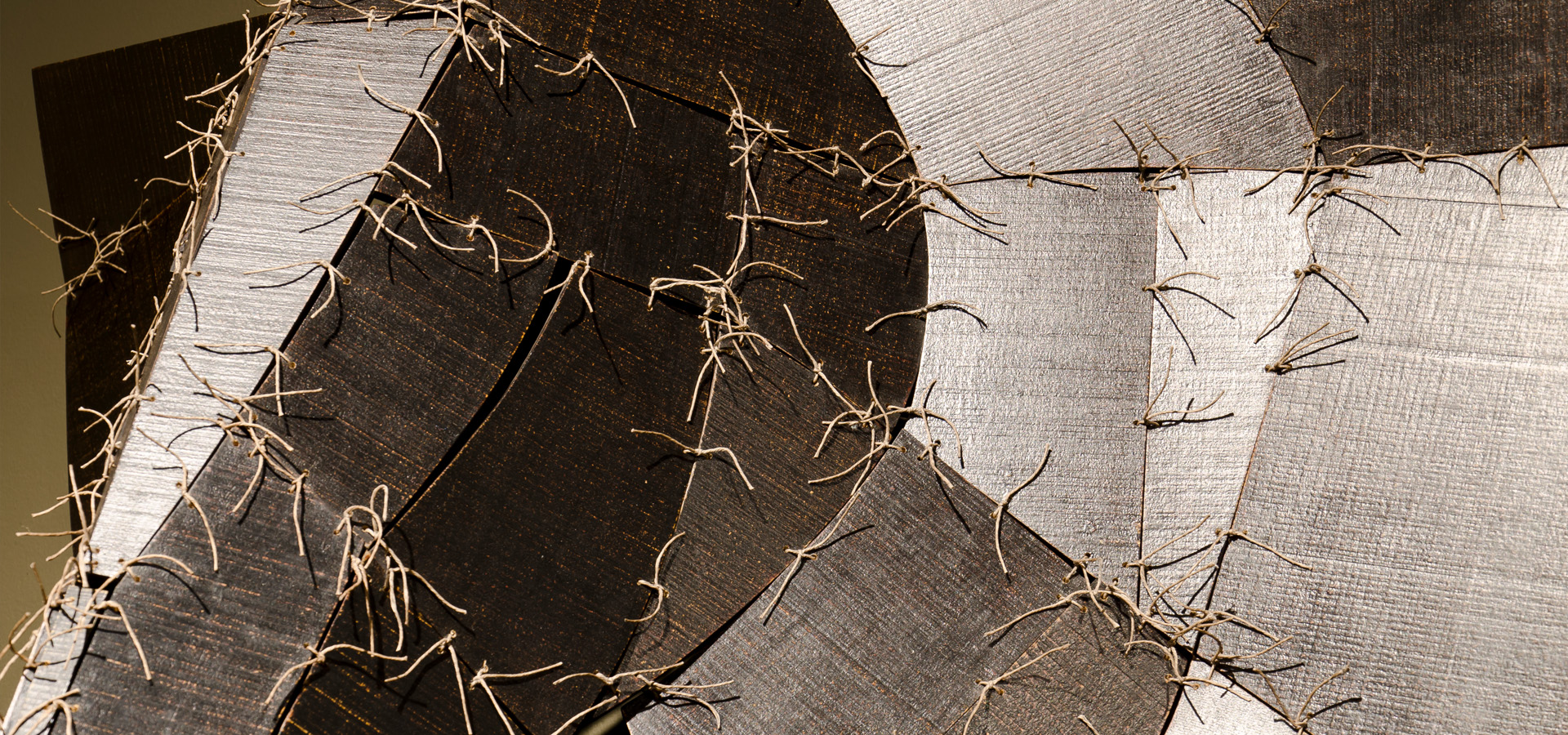 Close up of twine and board creating elephant head