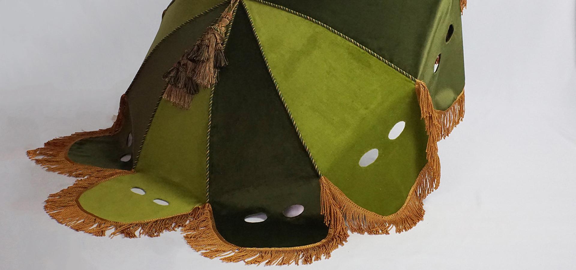 parasol, velvet, fabric trim, tassels