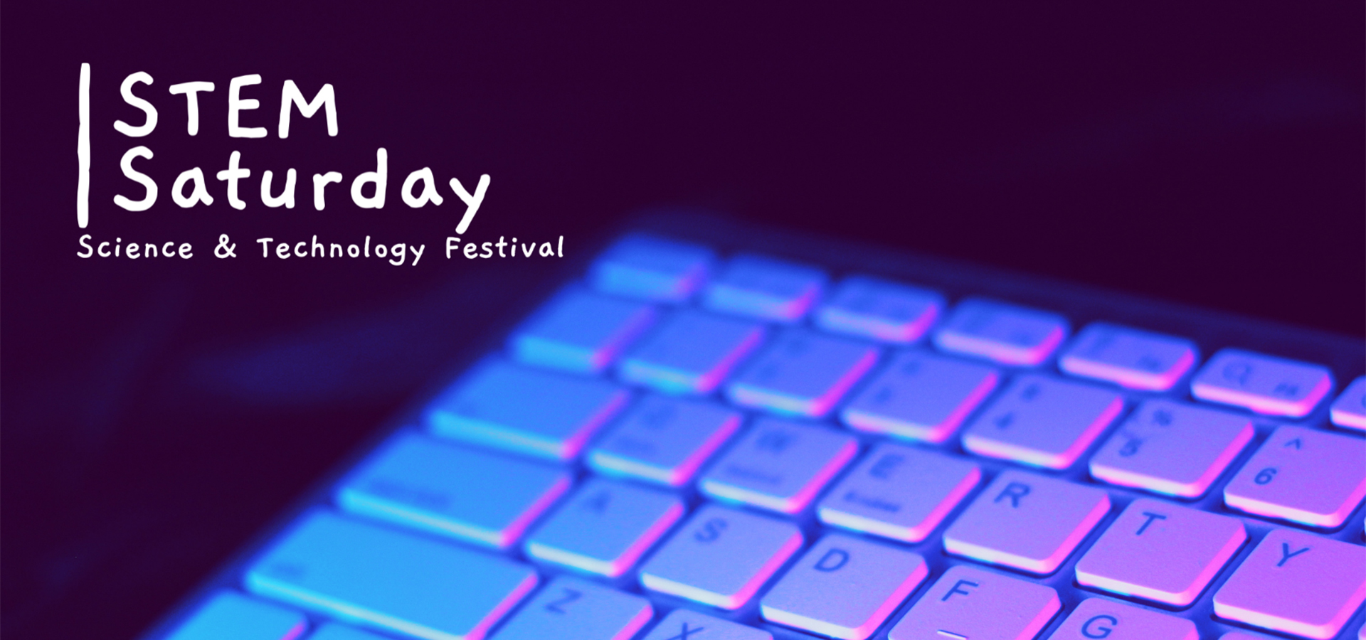 purple keyboard with Stem Saturday written out