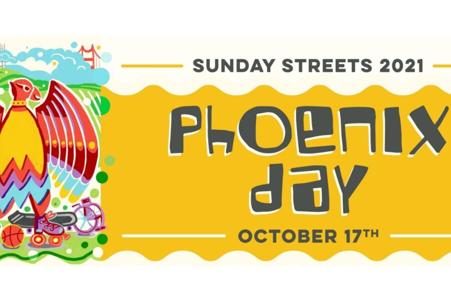 Sunday Streets 2021 Phoenix Day Logo with a yellow banner. The logo is of a brightly colored phoenix roller skating.