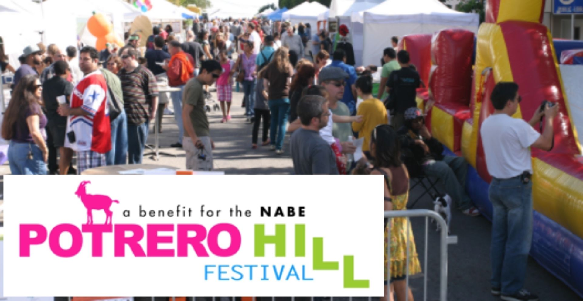 """Photo of festival goers, overlain with Potrero Hill Festival logo. Potrero Hill Festival logo in pick, green, and blue. A mountain goat silhouette stands on the """"T"""" in """"Potrero""""."""