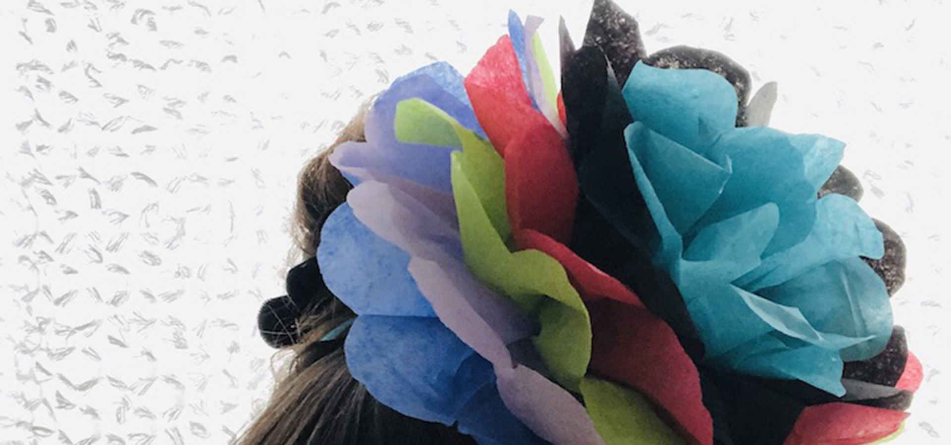 Flower Crown made from color tissue paper close up